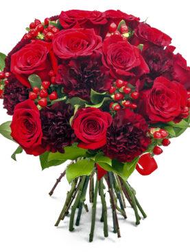Buchet tonuri de rosu cu17 trandafiri rosii